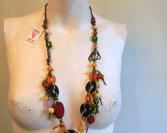 vintage. Indian Colorful Beaded Thread Long Necklace  // Never Worn Deadstock