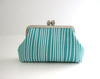 Women's Modern Frame Purse/ Card Case- blue stripe