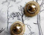 Vintage Ciner Earrings Grey Faux Pearl Clip Ons Large Dome Encircled Rhinestones Spectacular Pair of Sparklers for Wedding Gatsby Gala