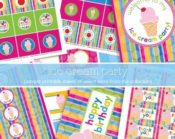 Ice Cream Party Decorations - Ice Cream Birthday Pack - Ice Cream Social - PRINTABLE, INSTANT DOWNLOAD