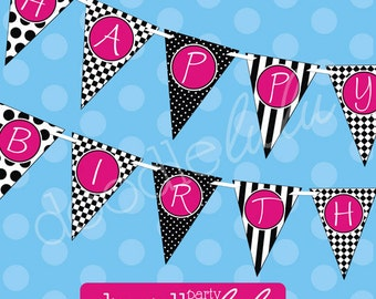 INSTANT DOWNLOAD DIY Party Decorations Black, White & Pink Birthday Banner Printable  - DoodleLulu by 2 june bugs