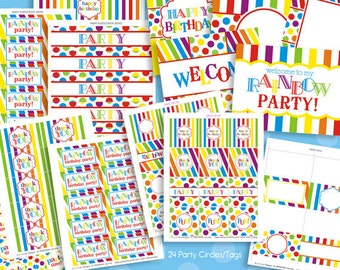 Rainbow Party Decorations - Rainbow Birthday Party Package - Rainbow Party Pack - Primary Colors - PRINTABLE, INSTANT DOWNLOAD