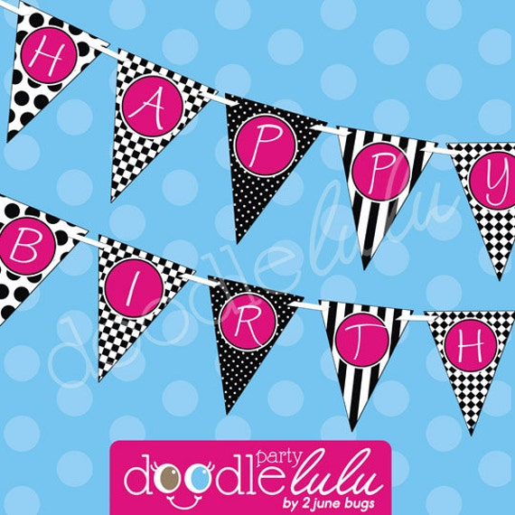 INSTANT DOWNLOAD DIY Party Decorations Black White Pink