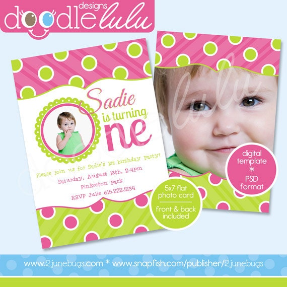 ... 1st Birthday Photo Card Invitation Template - Design from Doodlelulu