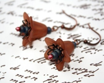 Copper and Lucite Dangle Earrings