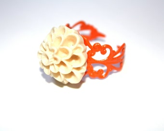 Tangerine and Cream Adjustable Filigree Ring