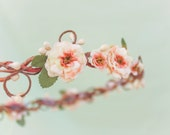 peach blossom flower crown, bridesmaid headpiece, floral head piece