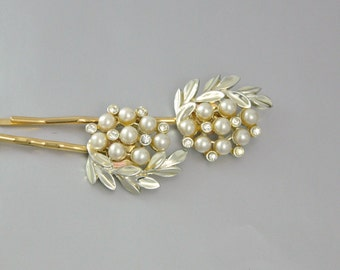 Rhinestone and Pearl Leaf Bobby Pin SET Upcycled Vintage Hair Accessory