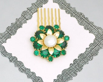 Emerald and Pearl Comb Vintage Rhinestone Wedding Hair Accessory
