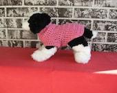 Pink dog sweater, medium dog sweater, large dog sweater, crochet dog sweater, classic dog sweater