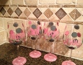 Hand painted Personalized Wine Glasses for Bridesmaids, Friends, Bachelorette Party etc