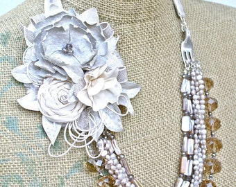 Fawn- necklace and earring set with leather and silk handmade flowers, pearls, and much more...