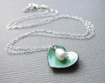 Mint Green Turquoise Enamel Heart Necklace White Pearl Sterling Silver