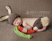 Baby Bunny Hat, Newborn Photo Prop Set, Easter Rabbit  Hat,Diaper Cover - CARROT included