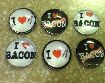 "Handmade ""I LOVE BACON"" magnets (set of 6)"