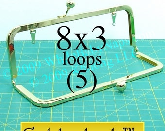5 Goldenlock(TM) 8x3 purse frame with LOOPS