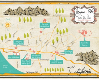 Custom Wedding Invitation Map - Camarillo, California  (choose your city/location)