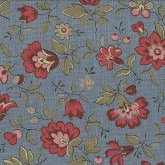 La Belle Fleur French General Moda Shabby Quilt Fabric Woad