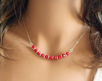 Swarovski Red Crystal Necklace - Dainty Necklace - Everyday Necklace - Short Red Necklace - Casual Necklace - Swarovski Necklace