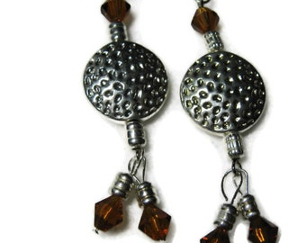 Hammered  Disc Silver Earrings, Brown Crystal Silver Earrings