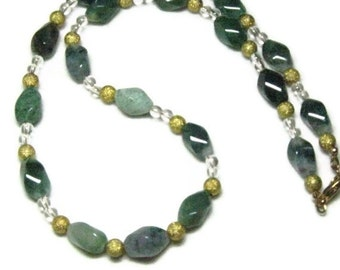 Gemstone Necklace,Quartz  Green Jasper Necklace , Jasper Quartz Necklace
