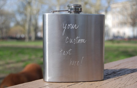 Personalized Flask. Custom Hand-Engraved Stainless Steel Flask with your Choice of Words or Quote, Made to Order