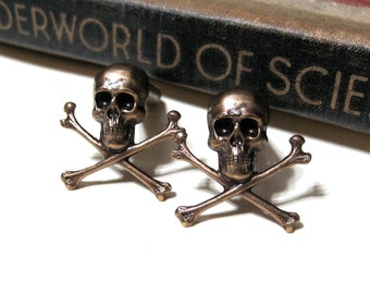 Skull and Crossbones Cuff Links Antiqued Brass - Pirate - Sailor - Oxidized - Nautical - Gothic - Jolly Roger - Buccaneer Caribbean Soldered
