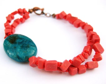 Coral Turquoise Gemstone Bracelet Antique Copper Asymmetrical Double Strand Coral Blue Green Feldspar Handmade Jewelry Canada
