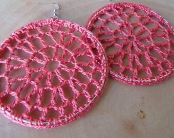 Crochet Earrings Lace Hoops in Coral