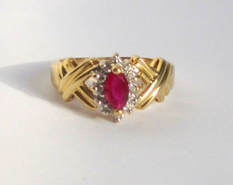 Womens 14K Gold Genuine Ruby and Diamond Ring