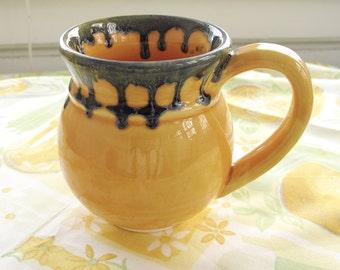 Happy mug Hand painted Coffee Tea Stylish Ceramic cup, Yellow amazing Handmade Pottery, Orange modern Home Decor, Kitchen gift