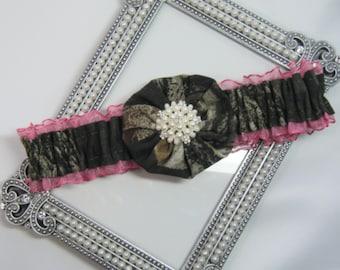 Hot Pink Toss Mossy Oak CAMOUFLAGE wedding garter Camo garters
