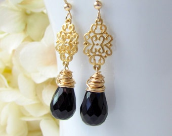 Black Onyx Earrings, Black Stone Earrings, Black and Gold Bridesmaid Jewelry, Gold Chandelier Filigree Wire Wrapped, Gold Filled