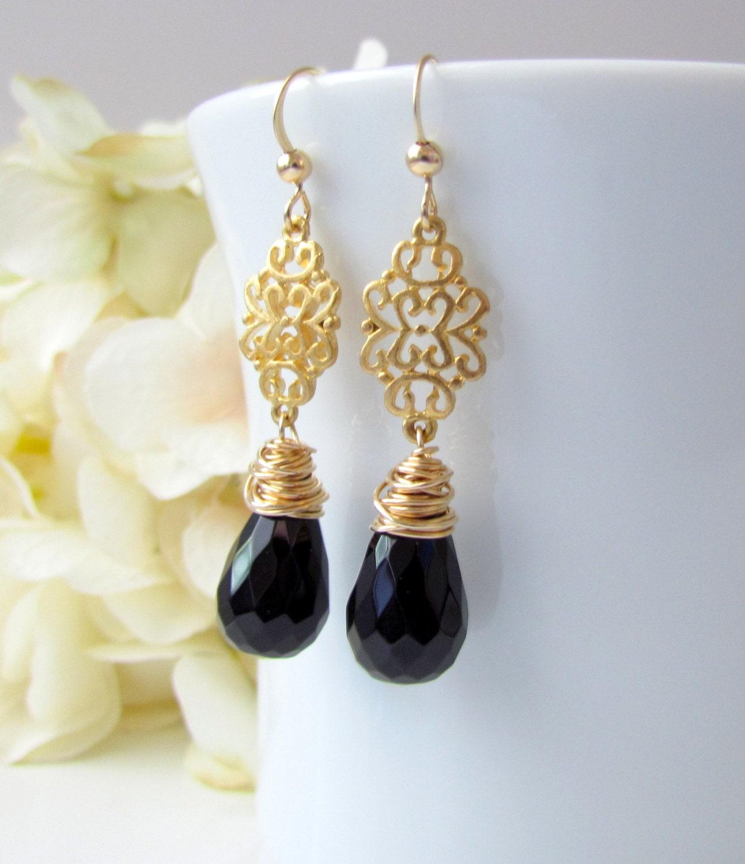 Black Stone Earrings: Black Onyx Earrings Black Stone Earrings Black And Gold
