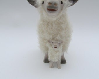 English Cotswold Sheep Figure Straddling a Lamb in Porcelain and Mohair
