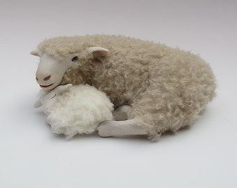 Handcrafted English Romney Sheep Figure  Lying With Newborn