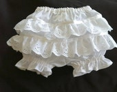 White Diaper Cover/ Panties Bloomers with Eyelet Lace ruffle-bum sz nb, 3, 6, 12, 24, 36 months