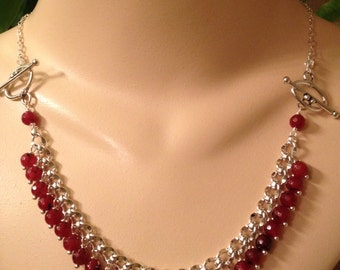 Faceted Garnet Cha Cha Charm Bracelet and Necklace