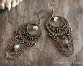 Foreteller Earrings - V. III - Antiqued Brass Filigree Hoops with Labradorite and Moonstone