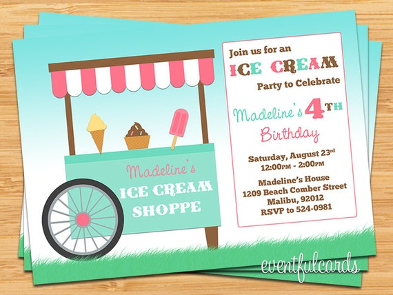 Ice Cream Shoppe Birthday Party Invitation by EventfulCards – Ice Cream Birthday Party Invitations