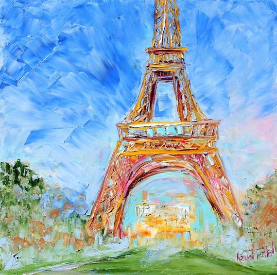 Simple Eiffel Tower Painting Original Oil Paris
