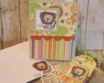Birthday Card and Tag Set  Lion Circus Handmade Gift Set