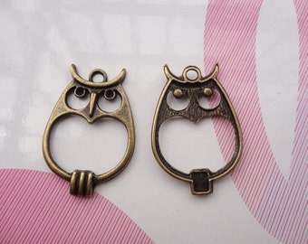 10pcs antique bronze owl findings 34x25mm