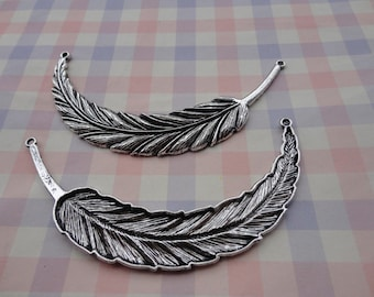 5pcs antique silver feather findings 90x17mm