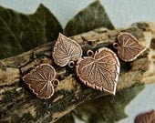Brass Heart Leaf Charms  Antique Copper Plated Brass USA Made Mix of Sizes (10pcs) NEW
