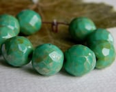 Czech Picasso Beads, Czech Glass Beads, Fire Polished, Green Turquoise & Light Bronze Speckled Picasso 12mm (8pcs) NEW