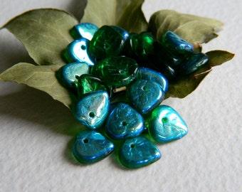 Leaf Beads Czech Glass Heart Leaf Beads Transparent Emerald & AB 9mm (50pcs) NEW