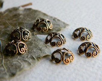 Brass BEAD CAPS Filigree 8mm Antique Brass (10pcs)