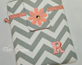 Personalized  Grey Chevron & Coral Pink - Nectarine with Felted Flower iPad Cover Case Sleeve