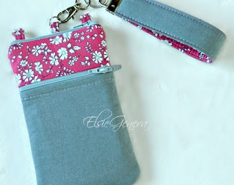 Titanium Gray Japanese Linen Grey Vivacious Hot Pink Floral Phone Case with Wristlet  iPhone 4 5 6 Plus Note Large Smartphone